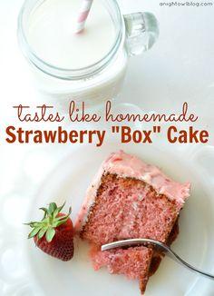 Strawberry Box Cake – Tastes Like Homemade! from A Night Owl Blog