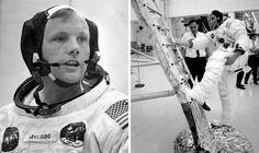 Neil Armstrong, comandante de la nave espacial Apolo 11, en declaraciones a un técnico durante un entrenamiento en el Centro Espacial Kennedy, en Cabo Cañaveral, Florida. A la derecha, en un ejercicio un día antes del lanzamiento de la nave.  NASA (AFP)  | Fotogalería | Actualidad | EL PAÍS