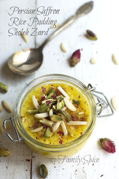 Persian Saffron Rice Pudding - Sholeh Zard