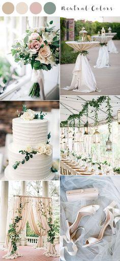 neutral colors spring summer wedding color ideas 2020 wedding palette Top 10 Wedding Color Ideas for Spring/Summer 2020 - EmmaLovesWeddings