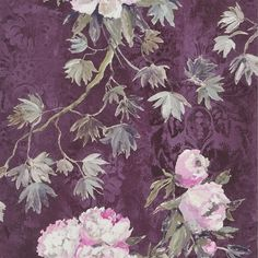 A dramatic wallpaper can really make a statement in your room. This Floreale- Damson Wallpaper from Designers Guild is a beautiful print that can act as art in your room. The deep purple color contrasts nicely with the light color of the peonies.