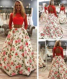 prom dresses,New Arrival unique red two pieces long prom dress, red evening dress