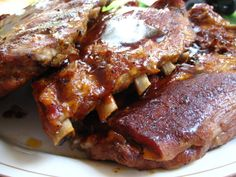 Beth's Melt in Your Mouth Barbecue Ribs (Oven) These are the most amazing ribs. It is the only recipe we use. Just be careful to adjust the oven time if you are making more that one slab- these are fall off the bone WOW