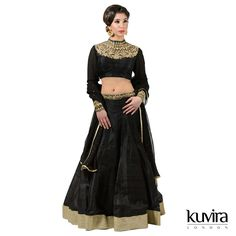 KL-AD04 - High neck blouse with raw silk lengha. Customisation options available with a made to measure service! Email info@kuviralondon.com for further information.