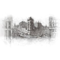 Black White City Wallpaper Vintage City View Wall Mural Retro Building... ($359) ❤ liked on Polyvore featuring home, home decor, black and white home accessories, black and white home decor and black white home decor