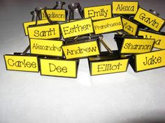 I use these clips to identify student mailboxes. First, I typed out their names, laminated them, and taped them to the 2-inch binder clips. I love this idea because they are easy to update and I don't have to worry about labels falling off.
