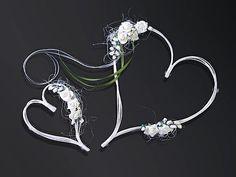Autoschmuck Hochzeit Rattan herz mit Blumen versch. Farben Brautauto stilvoll