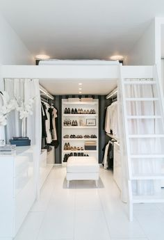 A Sneaky Way to Create a (Really Big) Closet in Your Small Space...... Walk in Closet with Loft Bed