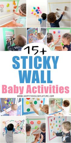 Looking for easy ways to entertain your sitting baby or young toddler? Check out these 15 quick to set up sticky walls & contact paper activities!