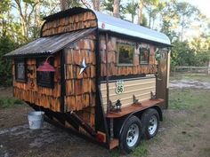 """""""Rustic Weekender"""" for sale on the Tiny House Marketplace. 1985 fuel: other transmission: other This cute little camper is a former horse trailer that we Tiny Camper Trailer, Cargo Trailer Camper Conversion, Gypsy Trailer, Trailers For Sale, Horse Trailers, Trailer Hitch, Tiny Houses For Sale, Tiny House On Wheels"""