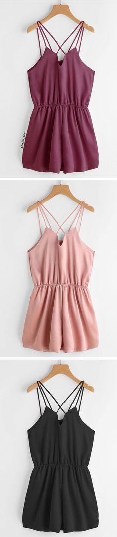 Criss Cross Back Elastic Waist Satin Cami Romper. Three colors available.