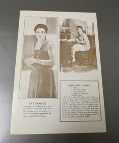 Favorite Movie Star Recipes 6x9 Post Card 1st Printed in 1931 Kay Francis Sepia | eBay