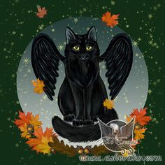 Raven wings fall black cat print by Ash Evans by AshEvans on Etsy, $15.00