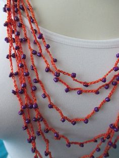 BEADED CROCHET NECKLACE  Purple Beads by QuackyQuilts on Etsy