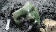 2000 years old green serpentine stone mask found at the base of Pyramid of the Sun, Teotihuacan, Mexico - RandomOverload Feathered Serpent, Prehistoric Man, Animal Bones, Mesoamerican, Ancient Ruins, Ancient History, Green Stone, Instagram, Mecca
