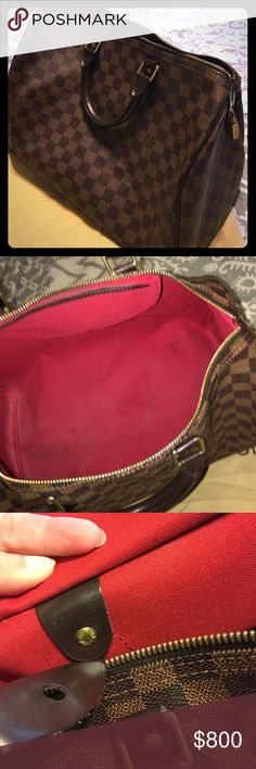 Beautiful Authentic Speedy 35 Damier Ebene Canvas Beautiful, 100% Authentic Louis Vuitton Speedy 35 (SD3048). There are slight signs of wear inside as you can see in the pics. I absolutely love this purse but I am cleaning out my closet and need room for more! It's big enough to carry all your stuff! Thanks for taking a look! 😊 Louis Vuitton Bags