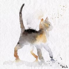 Alley kitty cat – blule, the boutique watercolor art, watercolor cat tattoo, animal