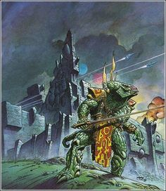 Photo: Philippe Caza -- Cover art for City of the Chasch by Jack Vance