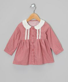 Take a look at this Rose & White Polka Dot Button-Up Dress - Toddler & Girls by Sweet Charlotte on #zulily today!