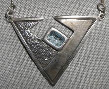 Vintage Modernist NOY LI Sterling & Blue Topaz Pendant Necklace