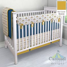 Crib bedding in Tribal Arrow, Solid Denim Blue, Solid Gold Minky, Solid Royal…
