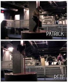 Pete and patrick pole dancing haha Pete actually looks like he's done this before
