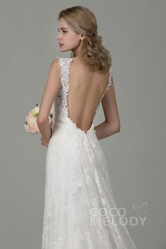 Fabulous Sheath-Column Straps Natural Train Lace Ivory/Champagne Sleeveless Backless Wedding Dress with Appliques CWVT15002  #cocomelody #laceweddingdresses #beachweddingdresses #hotsellingweddingdresses