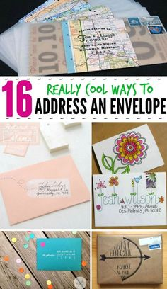 Mail Art - 16 really cool ways to address an envelope! Mail Art - 16 really cool ways to address an envelope! Envelopes Decorados, Craft Projects, Projects To Try, Envelope Art, Address An Envelope, Writing An Envelope, Envelope Lettering, Addressing Envelopes, Crafty Craft