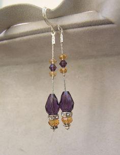 Very elegant rhinestones purple and yellow dangle by creatodame