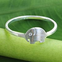 Sterling silver band ring, 'Twinkling Elephant' from @NOVICA, They help #artisans succeed worldwide.