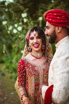 Gorgeous Bride and Groom at Muslim Wedding | By Slawa Walczak | Muslim Wedding | Muslim Wedding Dress | Red and Gold Wedding Dress | Bridal Jewellery | Bridal Makeup | Bridal Accesories | Bride and Groom |