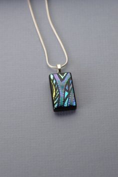 Handmade tribal blue, purple, green, gold, dichroic glass necklace | GrapevineGlassArt - Jewelry on ArtFire
