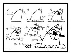 how to draw a cat art for kids hub - Printable Art For Kids