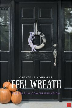 "Dress up your doorway with a Halloween themed wreath, using Rust-Oleum Glitter Spray Paint in just a few simple steps! Any three letter word will do so if you don't like EEK, then go for BOO! Mix and match colors to create the perfect hue of creepy. But beware. The scarier your yard decor, the more goblins and ghosts you'll find at your door screaming ""trick or treat!"" ...EEK! DIY if you dare!"