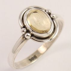 Natural LEMON QUARTZ Gemstone Ring Size US 5.5 Solid 925 Sterling Silver Trader…