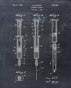 Hypodermic Syringe Patent Print Patent Art Print by VisualDesign