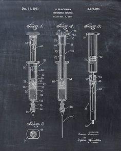 Hypodermic Syringe Patent Print Patent Art Print by VisualDesign