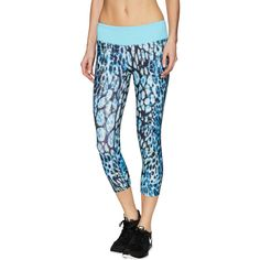 Prismsport Foulard Capri Legging ($49) ❤ liked on Polyvore featuring pants, leggings, multi, knit leggings, panel leggings, blue leggings, low rise leggings and patterned pants