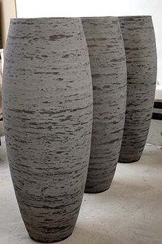 'Vase' - Richard Mackness :: one my most absolute favorite objects. i don't need much but a set of these would be a definite want. Concrete Forms, Concrete Design, Concrete Planters, Planter Pots, Container Plants, Container Gardening, Coil Pots, Clay Vase, Modern Planters