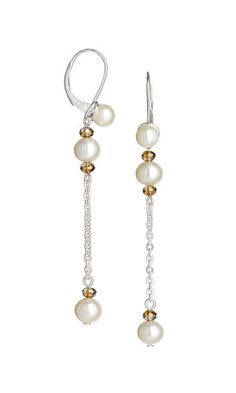 Earrings with SWAROVSKI ELEMENTS and White Lotus™ Cultured Freshwater Pearls