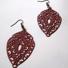 Red Patina Filigree Dangle Earrings by FairytaleFaire on Etsy, $22.00