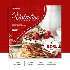 Valentine banner social media post insta... | Premium Psd #Freepik #psd #banner #sale #card #love Banner Social Media, Social Media Poster, Social Media Design, Food Graphic Design, Food Poster Design, Graphic Design Posters, Cake Logo Design, Web Banner Design, Web Banners