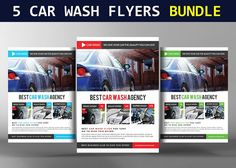 5 Car Wash Flyers Bundle