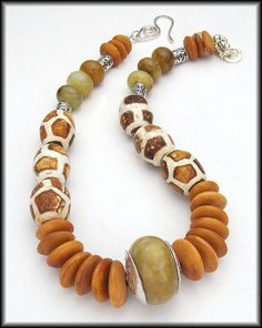 """I have those """"giraffe"""" beads & never knew what to do with them!!......CAPETOWN Jade Tibetan Agate African by sandrawebsterjewelry, $155.00"""