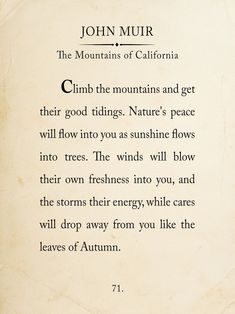 John Muir Mountain Book Page Style Literary Quote Print. Fine Art Paper, Laminated, or Framed. Multiple Sizes Available for Home, Office, or School - Trend Nature Quotes 2020 Life Quotes Love, Book Quotes, Quotes To Live By, Wisdom Quotes, Citations De John Muir, Citation Nature, John Muir Quotes, Mountain Quotes, Quotes Deep Feelings