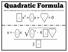 This week, my Algebra 2 students started solving quadratics using the quadratic formula. Wednesday, I passed out one of my favorite homewor...