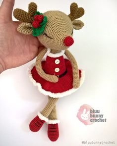 Amigurumi Pattern, Crochet Reindeer Tutorial for Christmas Decoration. Her name is Flora Fawn from the series of Ballerinas. This is a DOWNLOADABLE TUTORIAL. Written in English. (It will be available other languages too. If you interested it to help me translate them, please dm me.) Materials • Christmas Crochet Patterns, Crochet Animal Patterns, Crochet Doll Pattern, Stuffed Animal Patterns, Amigurumi Patterns, Crochet Dolls, Crochet Animals, Crochet Crafts, Crochet Projects