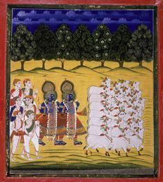 Krishna and Balarama in guise of cowhers, with cattle at right and six men dressed in white with turbans and sashes, at left. Sandy Dunes and flowewring trees represent the idyllic landscape of Brindaban. In Hindu mythology, Balarama is the elder half-brother of Krishna, with whom he shared many adventures. ID: Or 4203