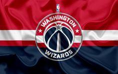 Download wallpapers Washington Wizards, basketball club, NBA, emblem, logo, USA, National Basketball Association, silk flag, basketball, Washington, US basketball league, South East Division