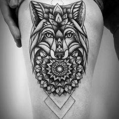 http://tattooideas247.com/fox-mandala/ Fox Mandala #Dotwork, #Fox, #Leg, #Mandala, #ThighInk